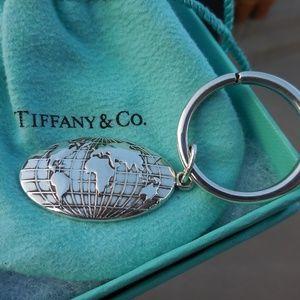 RARE~TIFFANY & CO~Sterling GLOBE Atlas Key Ring